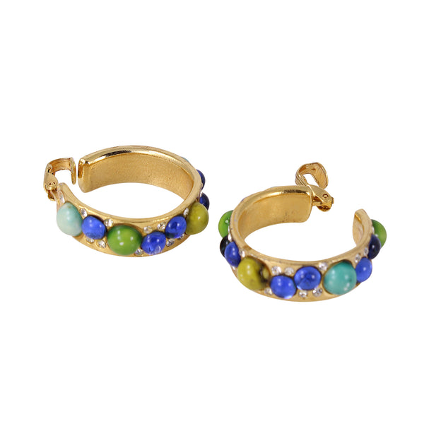 Colorful Glass Cabochon and Rhinestone Hoop Earrings Side