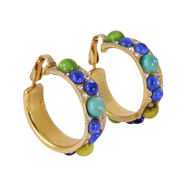 Colorful Glass Cabochon and Rhinestone Hoop Earrings