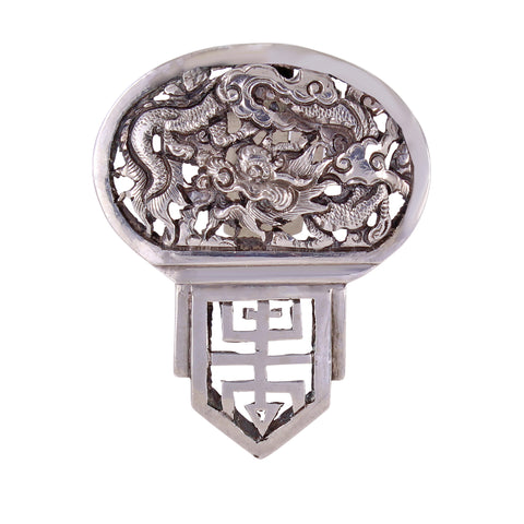 French Indochina Silver Dragon Dress Clip Front