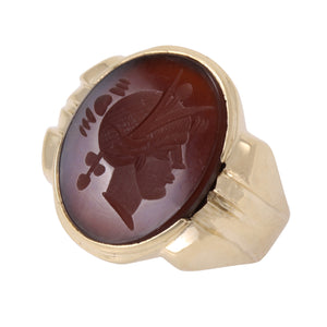 Sard Intaglio 10k Yellow Gold Ring Side