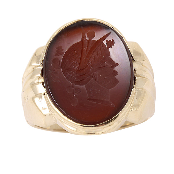 Sard Intaglio 10k Yellow Gold Ring Front