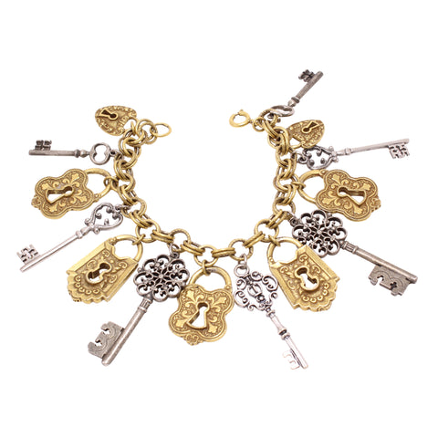 Skeleton Key and Lock Charm Bracelet Front