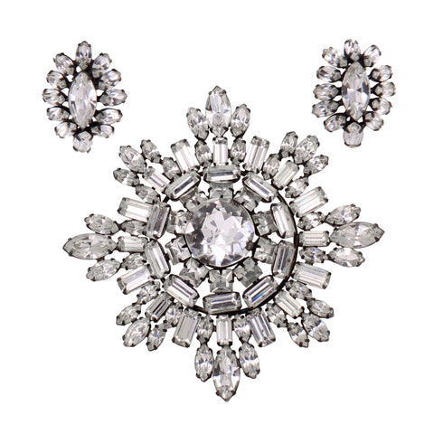 Kramer of New York Rhinestone Large Snowflake Pin and Earrings Front