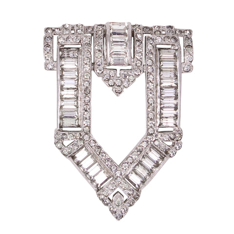 KTF Trifari Art Deco Rhinestone Dress Clip