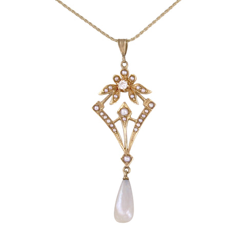 Edwardian 14k Pearl and Diamond Lavaliere Pendant