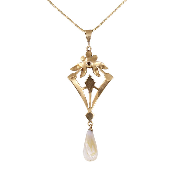 Edwardian 14k Pearl and Diamond Lavaliere Pendant Back