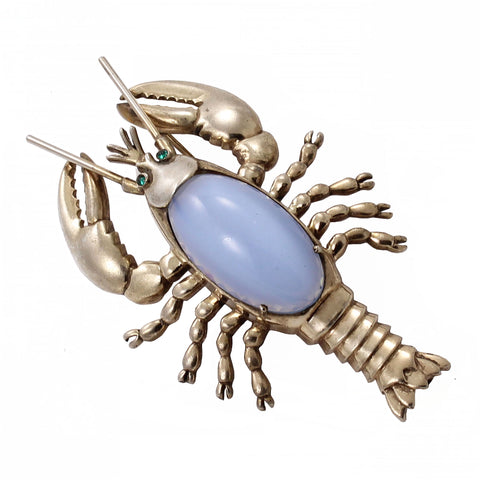 Moonstone Glass Cabochon Sterling Silver Lobster Pin Front