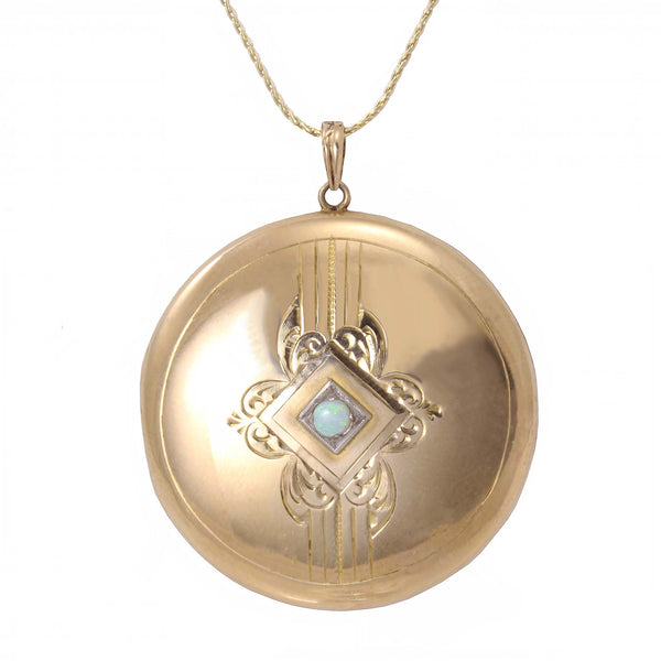 Opal and 10k Gold Locket Pendant Front