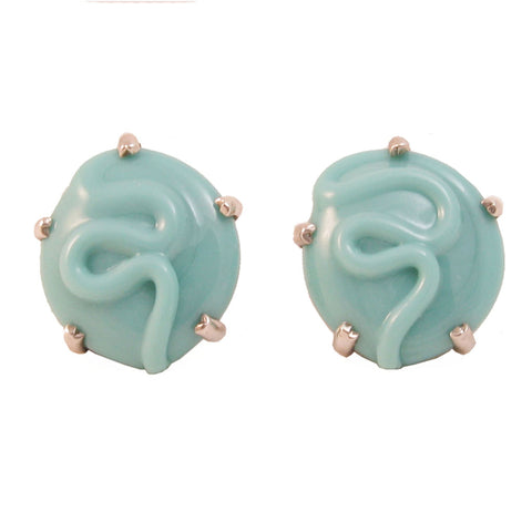 Mariquita Masterson Aqua Glass Sterling Earrings Front