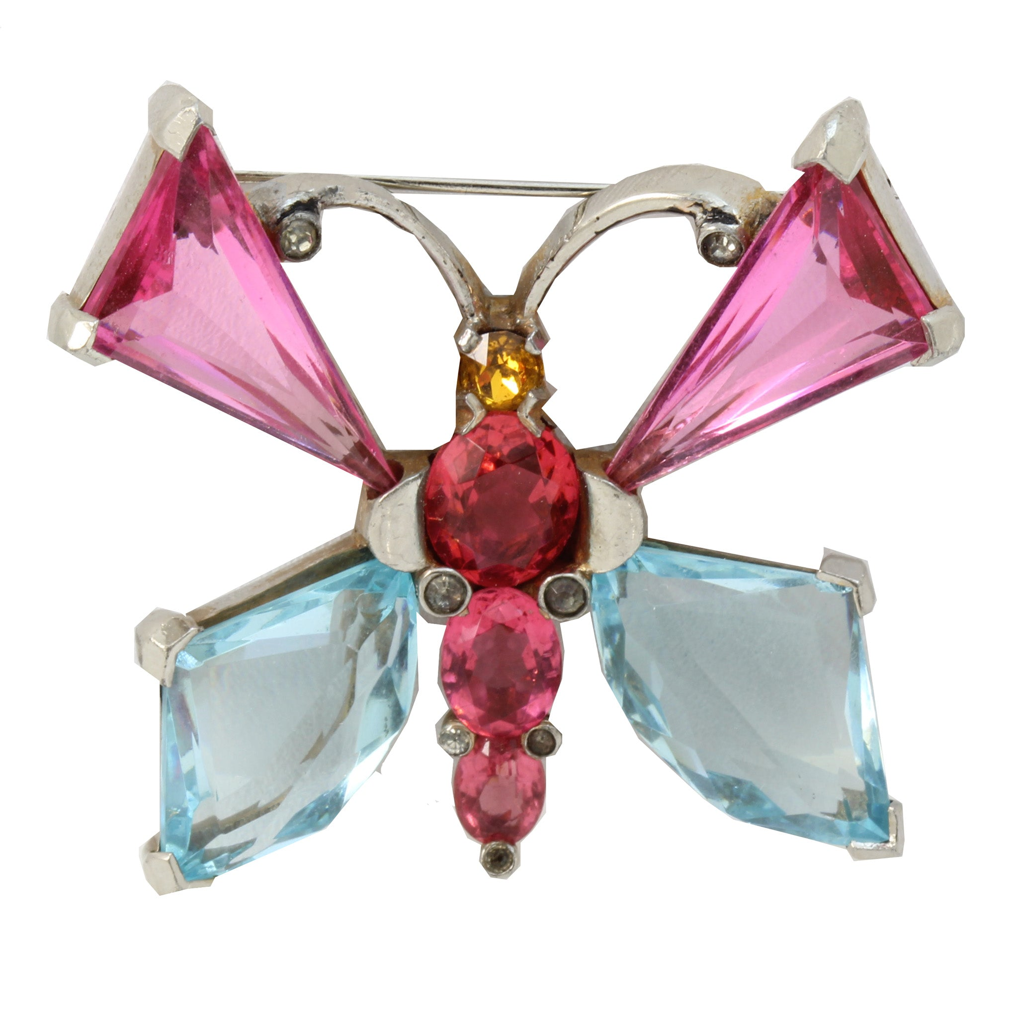 Early 1940s Mazer Rhinestone Butterfly Pin Front