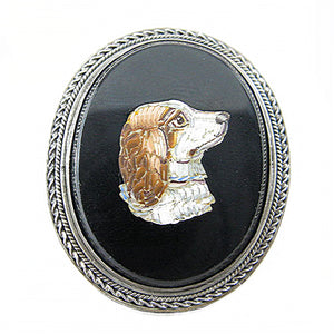 Victorian Cavalier King Charles Cavalier Spaniel Micro Mosaic Brooch Front