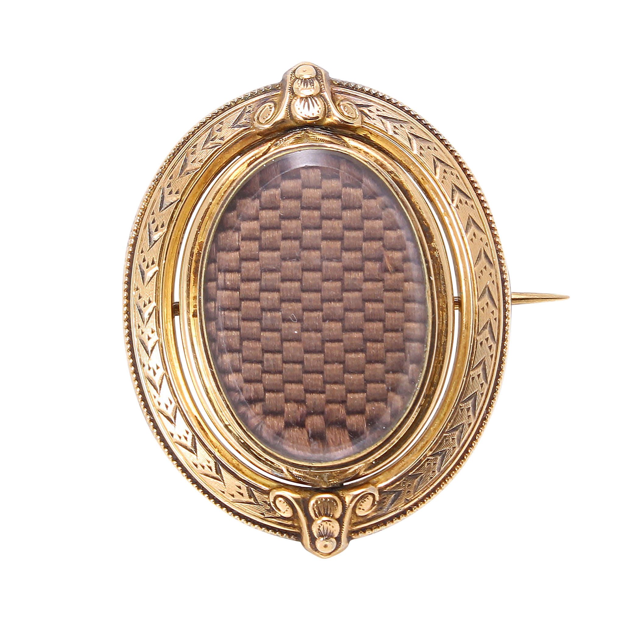 Victorian 14k Yellow Gold Double Sided Swivel Locket Pin