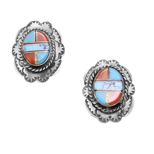 Zuni Sterling Coral, Turquoise, and Opal Earrings Front