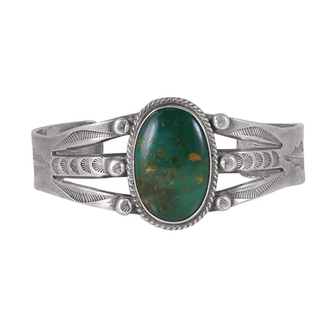 Navajo Turquoise Sterling Silver Harvey Era Cuff Bracelet Front