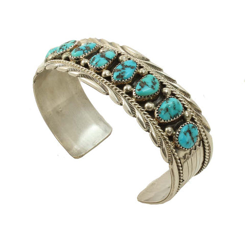 James Shay Sterling and Turquoise Navajo Vintage Bracelet Front