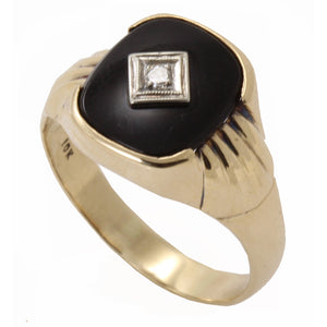 Vintage Men's Onyx and Diamond 10k Yellow Gold Ring Side