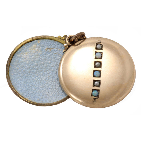Opal and Pearl Yellow Gold Filled Locket Pendant Open