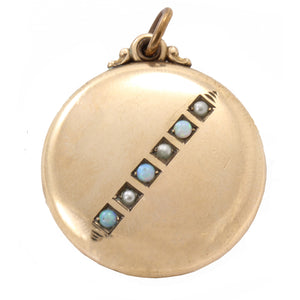 Opal and Pearl Yellow Gold Filled Locket Pendant Front
