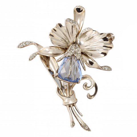 Large Blue Sterling Vermeil Orchid Flower Pin Front
