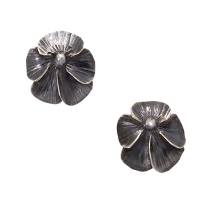 Vintage Sterling Silver Pansy Flower Earrings