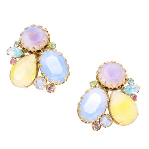 Springtime Pastel Rhinestone Earrings Front