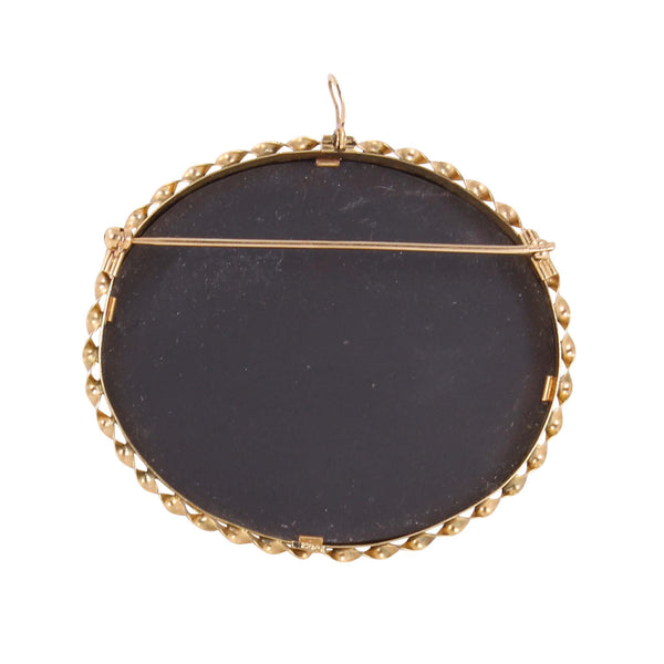 Pietra Dura Stone Inlay 14k Yellow Gold Pin/Pendant Back