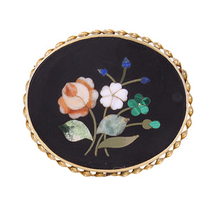 Pietra Dura Stone Inlay 14k Yellow Gold Pin/Pendant Front