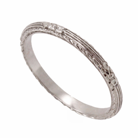 Platinum Orange Blossom Wedding Band Side