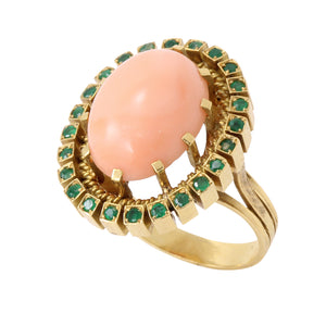 Coral and Emerald 19.2K Yellow Gold Ring