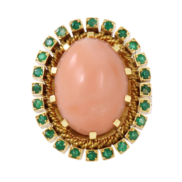 Coral and Emerald 19.2K Yellow Gold Ring Front