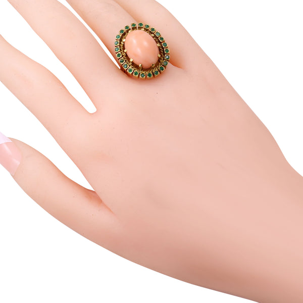 Coral and Emerald 19.2K Yellow Gold Ring Worn
