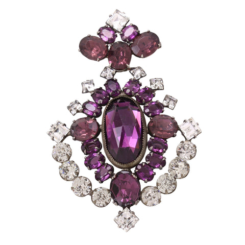 Incredible Large Amethyst and Crystal Rhinestone Articulated Brooch Front