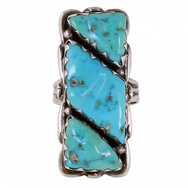 Zuni Alvina Quam Turquoise and Sterling Ring Front