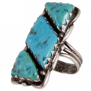 Zuni Alvina Quam Turquoise and Sterling Ring View