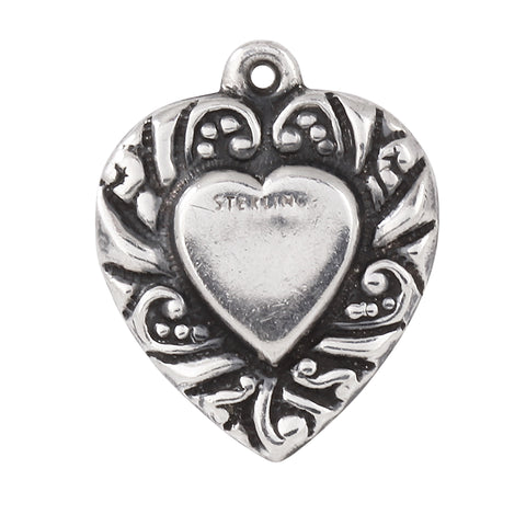 Scrolled Double Sided Vintage Sterling Puffy Heart Charm/Pendant Front