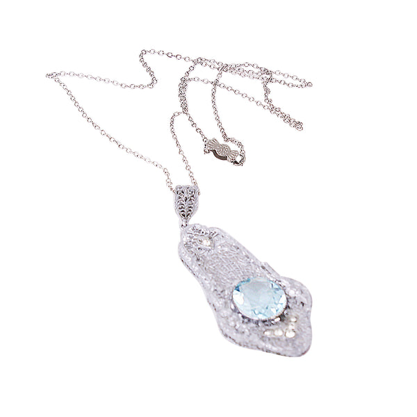Art Deco Aquamarine Rhinestone Filigree Pendant Full