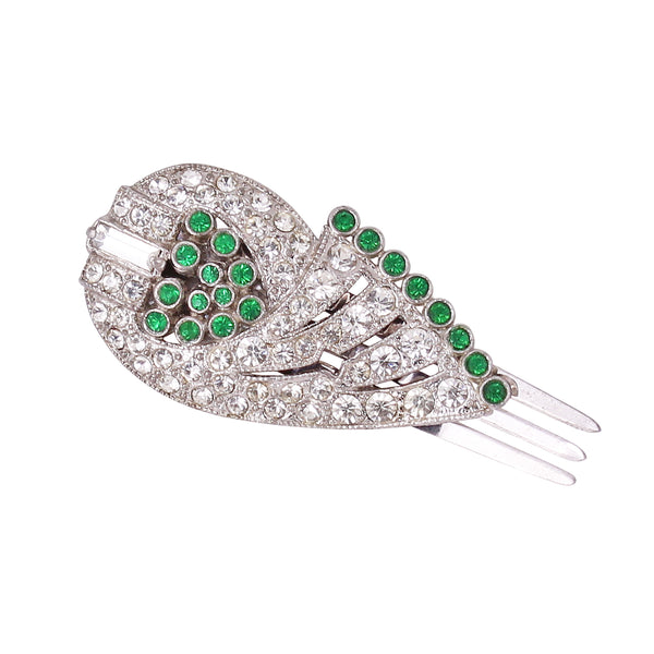Incredible Art Deco Clear and Emerald Green Rhinestone Hair Comb Clip