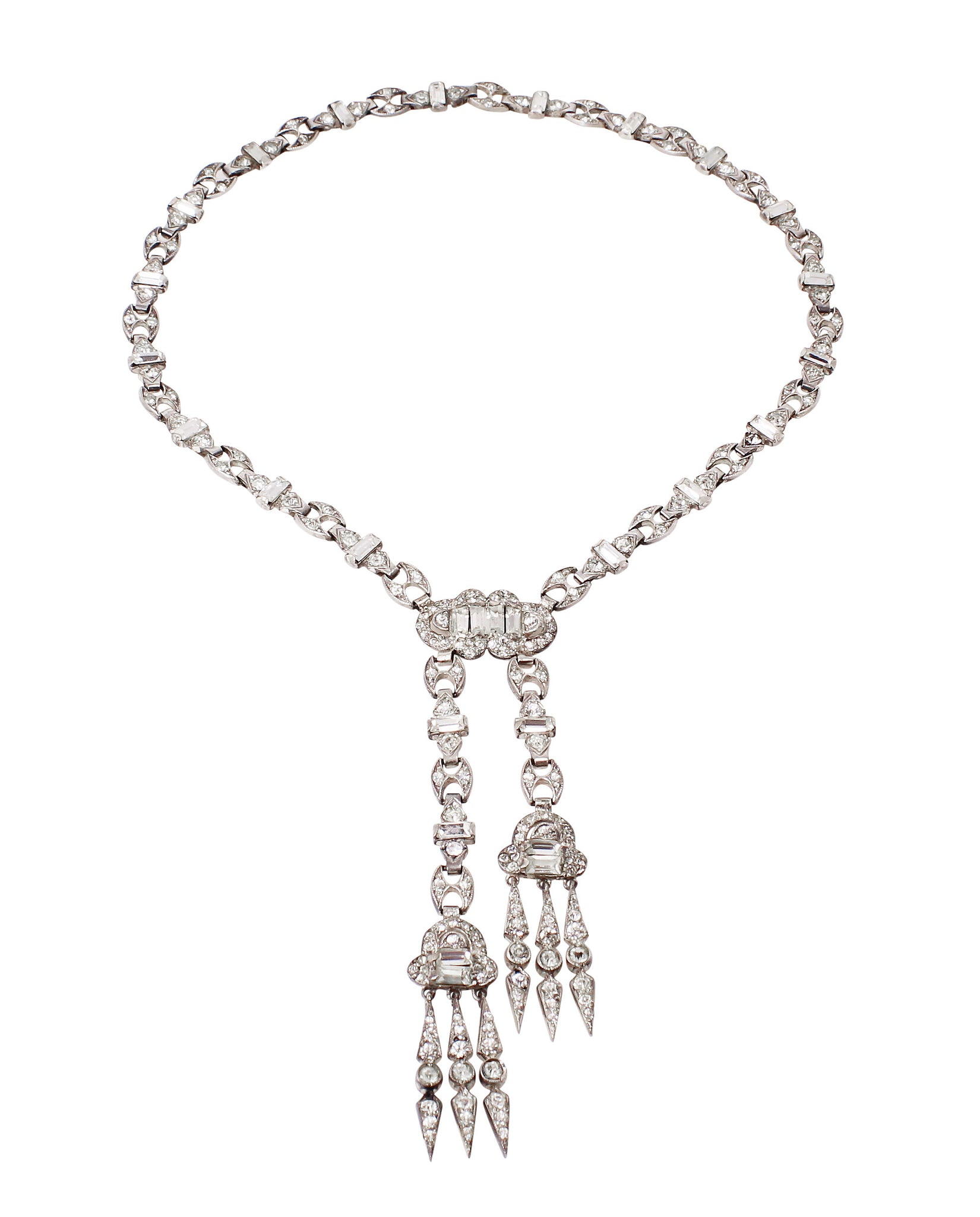 Art Deco Sterling and Rhinestone Necklace by Fishel, Nessler & Co.