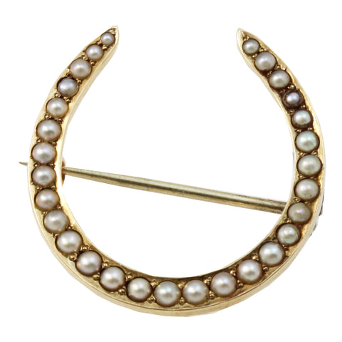 Antique Riker Brothers 14k Gold & Pearl Horseshoe Pin/Brooch Front