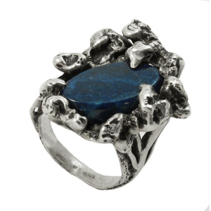 Brutalist Sterling Silver and Lapis Lazuli Ring Front