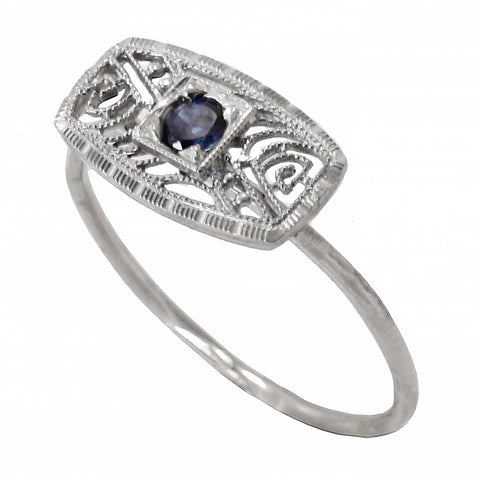 Art Deco 14k White Gold Filigree and Sapphire Conversion Ring Front