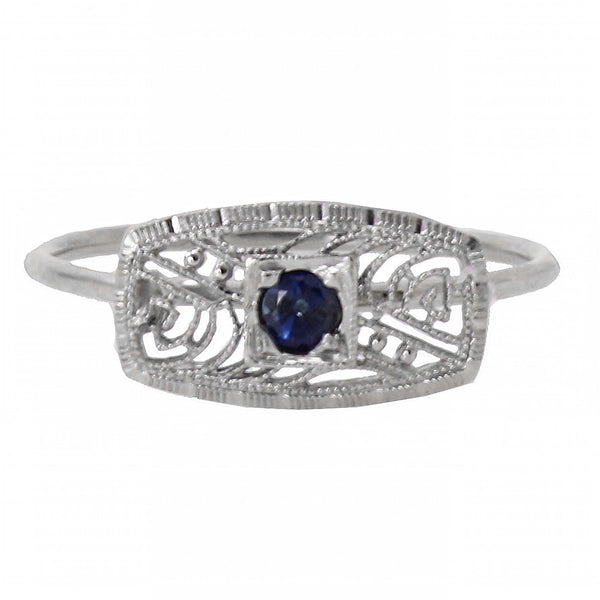 Art Deco 14k White Gold Filigree and Sapphire Conversion Ring Full