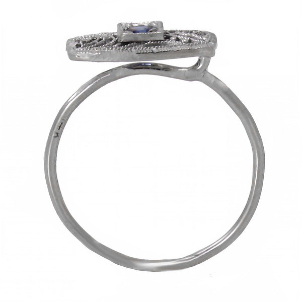 Art Deco 14k White Gold Filigree and Sapphire Conversion Ring Side