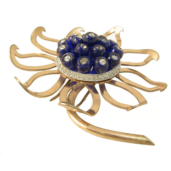 Nettie Rosenstein Sterling Vermeil Flower Fur/Pin Clip Side
