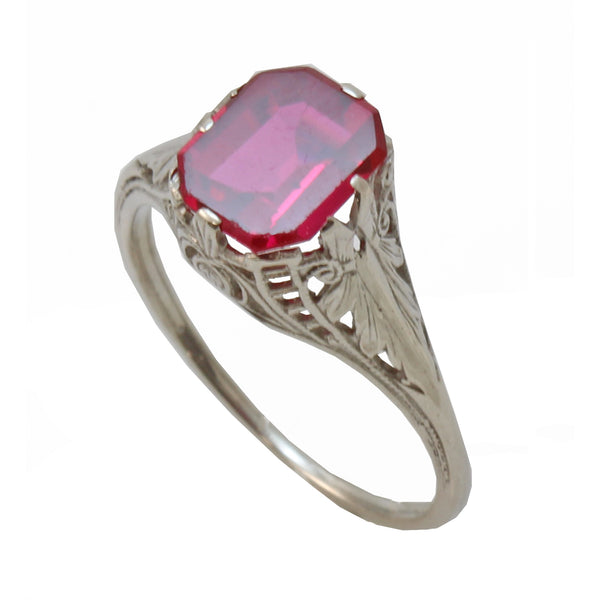 Vintage Syn. Ruby 10K White Gold Filigree Ring Front
