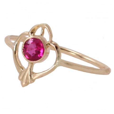 Ruby 10k Yellow Gold Conversion Ring Front