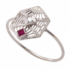 Art Deco 14k White Gold Filigree and Ruby Ring Front