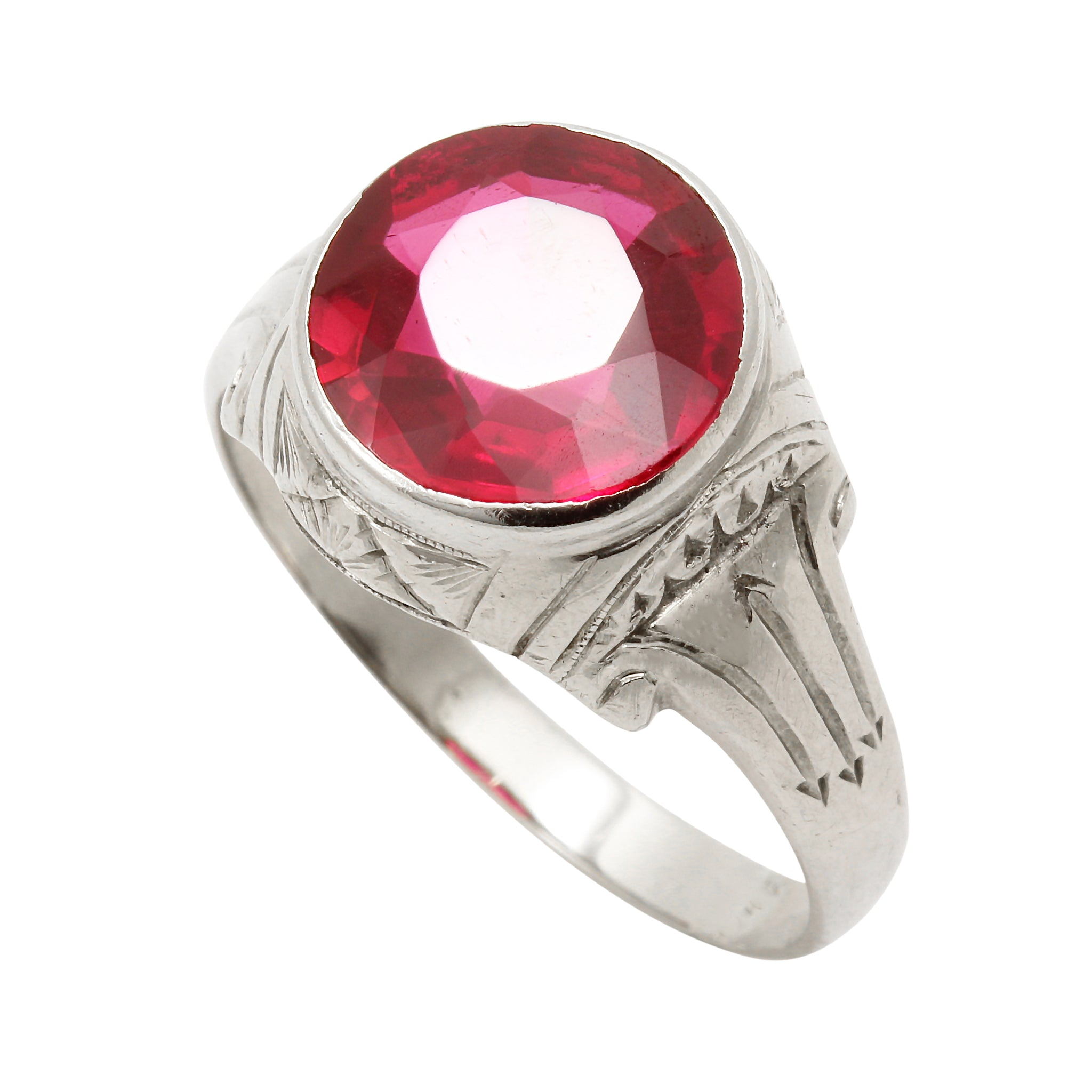 Art Deco Lab Ruby 10k White Gold Ring