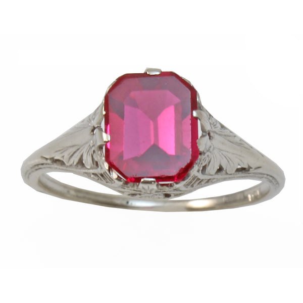 Vintage Syn. Ruby 10K White Gold Filigree Ring Close