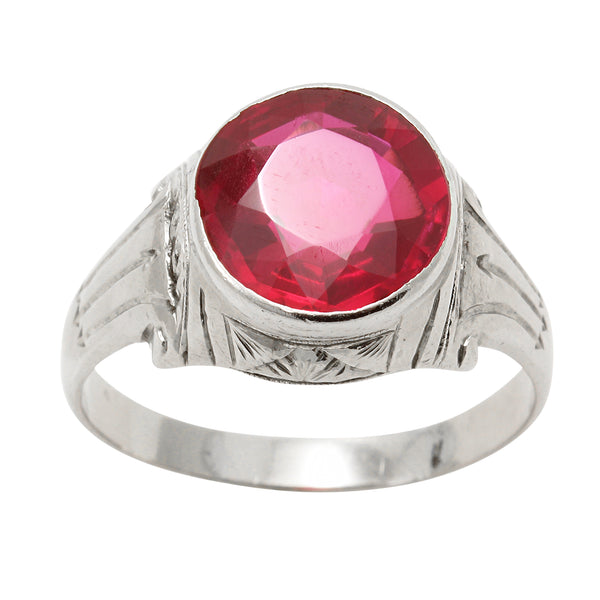 Art Deco Lab Ruby 10k White Gold Ring Front